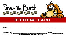 Paws in the Bath referral card